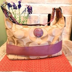 Coach Hobo with Lavender Stripe